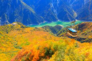 立山黒部 大観峰より紅葉のタンボ平と黒部湖・立山ロープウェイの写真素材 [FYI02090593]