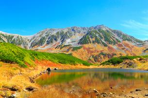 立山黒部 みどりが池と紅葉の立山連峰の写真素材 [FYI02090643]