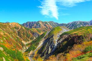 立山黒部 紅葉の天狗平・ソーメン滝の写真素材 [FYI02090782]