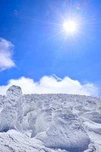 蔵王 地蔵山の樹氷と太陽の写真素材 [FYI02090907]