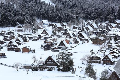 雪の白川郷合掌造り集落の写真素材 [FYI02091192]
