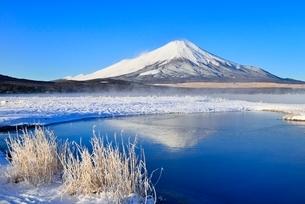 霧氷の山中湖と逆さ富士の写真素材 [FYI02091762]