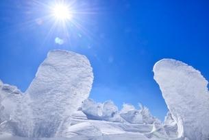 蔵王 地蔵山の樹氷と太陽の写真素材 [FYI02091910]