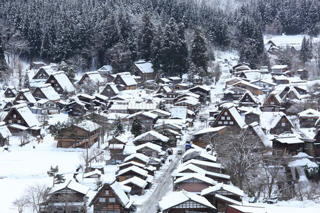 雪の白川郷合掌造り集落の写真素材 [FYI02092518]