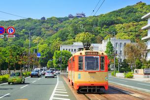 伊予鉄路面電車と県庁に松山城の写真素材 [FYI02092932]