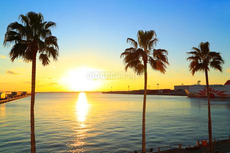 大阪南港ATCより望む大阪湾と夕日の写真素材 [FYI02093175]