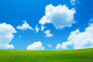 緑の草原と青空に雲の写真素材 [FYI02093507]
