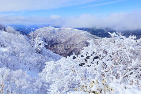 剣山の樹氷と塔の丸の写真素材 [FYI02093610]