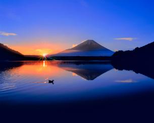 富士山と精進湖の朝日に光芒の写真素材 [FYI02093931]