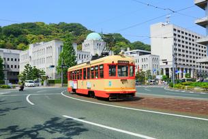 伊予鉄路面電車と県庁に松山城の写真素材 [FYI02094256]