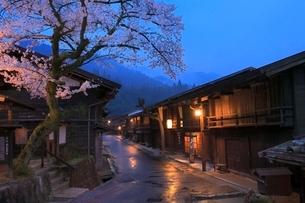 木曽路 妻籠宿とサクラの夕景の写真素材 [FYI02094469]
