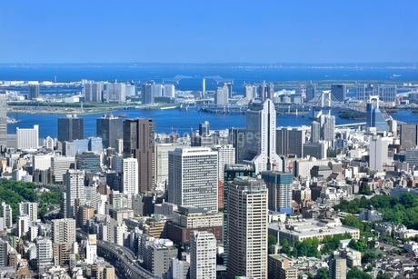 六本木ヒルズよりゲートブリッジと東京湾に東京の街並み展望の写真素材 [FYI02094472]