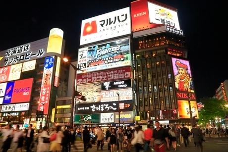 札幌すすきの夜景の写真素材 [FYI02094498]