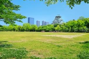 新緑の大阪城と遠足の小学生の写真素材 [FYI02094591]
