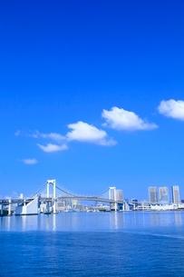 レインボーブリッジとビル群に雲の写真素材 [FYI02094819]