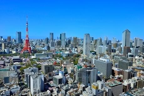 国際貿易センタービルより東京タワーと六本木ヒルズに東京の街並み展望の写真素材 [FYI02094945]