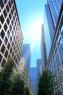 丸の内ビル街と光芒の写真素材 [FYI02094959]