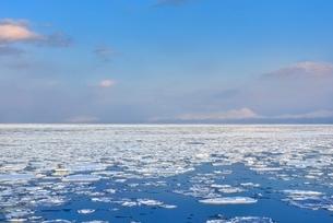 おーろら号よりオホーツク海に蓮葉氷流氷帯と知床の山々の写真素材 [FYI02095312]