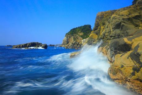 足摺岬の岩と波の写真素材 [FYI02095434]