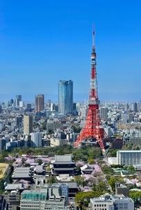 国際貿易センタービルより東京タワーと六本木ヒルズに東京の街並み展望の写真素材 [FYI02095482]