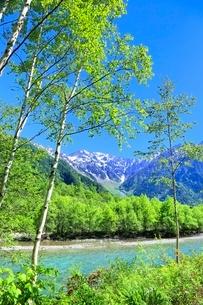 新緑の上高地,梓川と穂高連峰の写真素材 [FYI02095693]