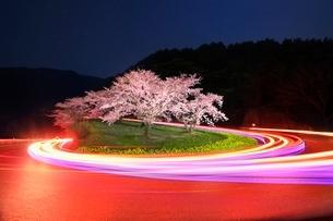 峠の桜と光跡の写真素材 [FYI02095785]