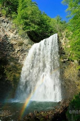 新緑の乗鞍高原 善五郎の滝と虹の写真素材 [FYI02095912]