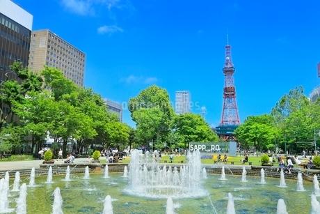 札幌,新緑の大通公園とさっぽろテレビ塔の写真素材 [FYI02095996]