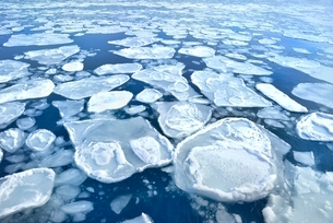 ガリンコ号Ⅱよりオホーツク海の蓮葉氷流氷帯の写真素材 [FYI02096159]