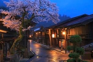 木曽路 妻籠宿とサクラの夕景の写真素材 [FYI02096464]