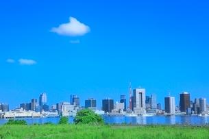 レインボーブリッジと東京タワーにビル群の写真素材 [FYI02096657]