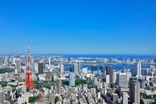 六本木ヒルズより東京タワーと東京の街並み展望の写真素材 [FYI02097521]