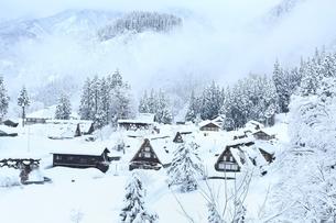 五箇山 雪の相倉合掌造り集落の写真素材 [FYI02097584]