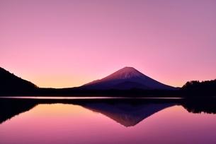 元旦・朝焼けの精進湖と逆さ富士の写真素材 [FYI02097609]