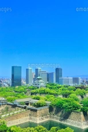 新緑の大阪城と大阪ビジネスパークのビル群の写真素材 [FYI02097953]