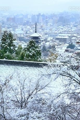 雪化粧する八坂の塔と京都市街の写真素材 [FYI02097972]