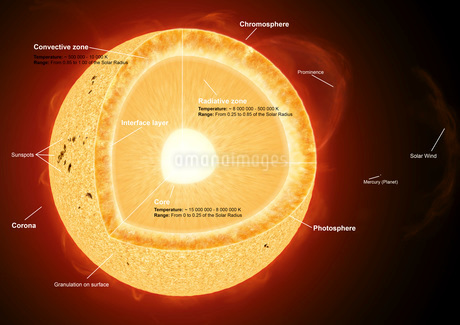 Illustration showing the various parts that make up the sun.の写真素材 [FYI02098173]