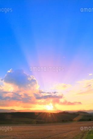 入道雲と夕日に光芒の写真素材 [FYI02098647]