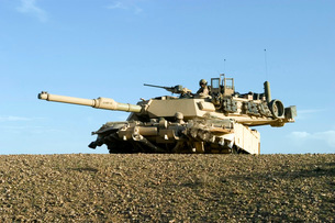U.S. Marines provide security in an M1A1 Abrams tank.の写真素材 [FYI02098862]