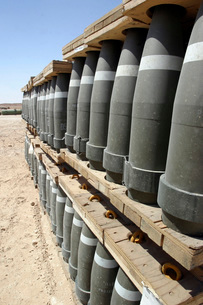 Rows of ammunition are stacked and prepped to be moved intoの写真素材 [FYI02099200]