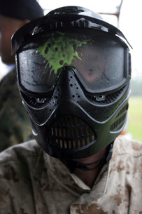 A paintball round splattered the protective face mask of a sの写真素材 [FYI02099306]