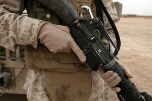 A Marine displays the required hand personal protective equiの写真素材 [FYI02099315]