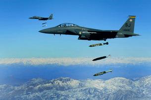 U.S. Air Force F-15E Strike Eagle aircraft drops 2,000-poundの写真素材 [FYI02099334]