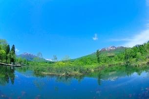いもり池と黒姫山に妙高山の写真素材 [FYI02099370]