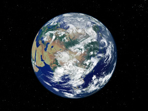 Fully lit Earth centered on Asia.の写真素材 [FYI02099466]