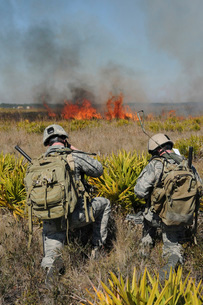 Soldiers call in information during Exercise Atlantic Strikeの写真素材 [FYI02099471]