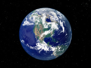 Fully lit Earth centered on North America.の写真素材 [FYI02099531]