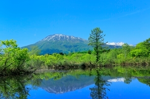 いもり池と黒姫山の写真素材 [FYI02099567]