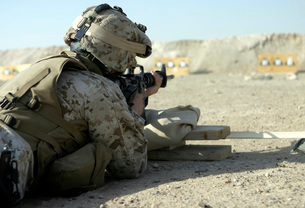A Marine fires a M16A2 service rifle to acquire a battle sigの写真素材 [FYI02099585]