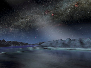 The night sky from a hypothetical alien planet.の写真素材 [FYI02099631]